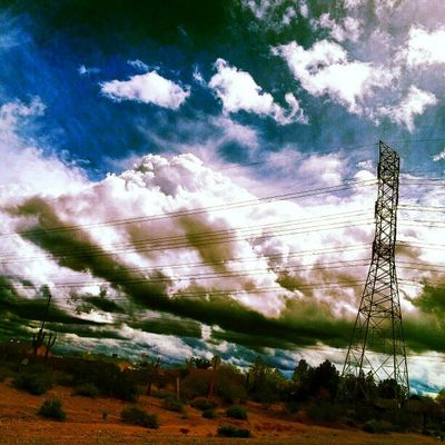 Instagramaz Glendaleaz Desertlivin Horizon Blueskies Clouds Mountains @arizonaskies Sunsetsgram Colorful Powerlines Insaneweatherinphx Awesomeclouds Cloudporn Driving :) Pretty Cacti Dirt Scenery