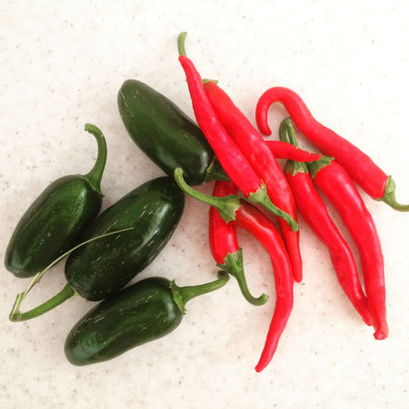 Ripe chili peppers top view Agriculture Cayenne Chili  Food Food And Drink Fresh Freshness Green Growth Ingredients Jalapeno Mexican Food Natural Organic Paprika Pepper Picked Red Ripe Variation Vegetable