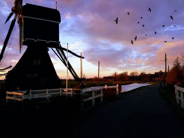 Showcase: February Windmill Black Crows Small Village In The Country Cloudy Country Road