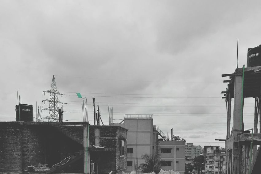 Little Boy Finding Joy On The Top Of The City Black And White Photography Flying Kite Kite Paste Color Crowded City Huwawie P9 Mobile Editing Clouds And Sky Buildings & Sky