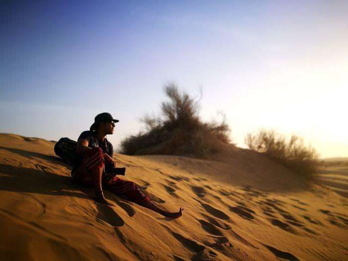 Sand Dune Desert Full Length Sitting Sand Clear Sky