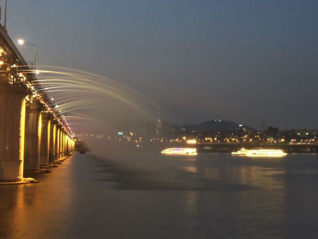 Illuminated Night City Sky Water River Riverside River View Fountains Ferryboat Ferry Han River Han River Park