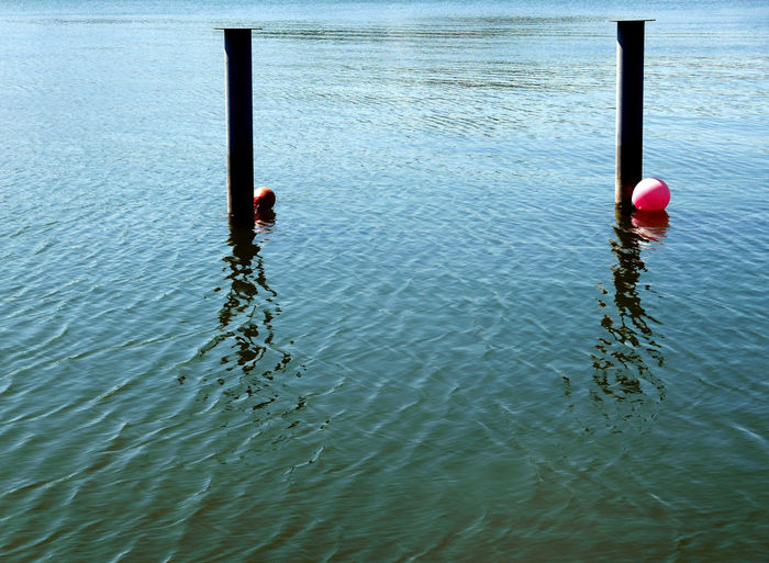 Backgrounds Buoy Floating Floating On Water Reflection Rippled Sea Tranquil Scene Tranquility Turquoise Water Waterfront Wooden Piles Wooden Post