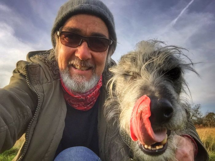 Me N Leo That's Me Hello World Hanging Out Bushy Park Sighthound LEO... The One Eyed Lurcher... I Love My Dog ❤ That's Me Lurcher