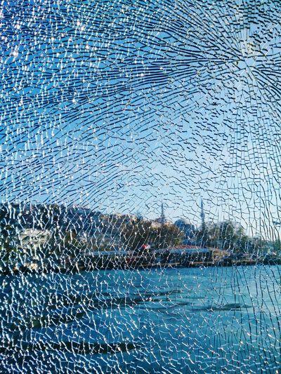 Full frame shot of shattered glass