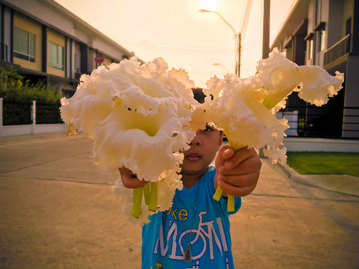 Portrait of cute boy showing white flowers while standing on street