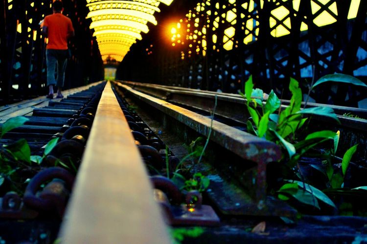 Railroad Track Outdoors People Walking  Sunset Happy Time