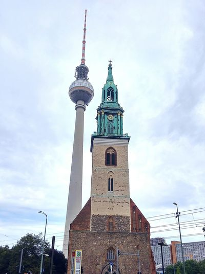 Tower Cloud - Sky Architecture Travel Destinations Sky City City Street Religion No People History Cityscape Outdoors Building Exterior Clock Tower Built Structure Car Day Winter Urban Skyline Cold Temperature Alexanderplatz Berlin, Germany  Discover Berlin