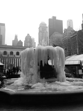 The stunning impact of the cold on Bryant Park's Fountain! It's Cold Outside New York City Last Year Scenery Bryant Park  Fountain Ice Brisk Snow City NYC Skyscraper Landscape 2015  Cityscapes Cityscape City Life EyeEm Best Shots Eye4photography