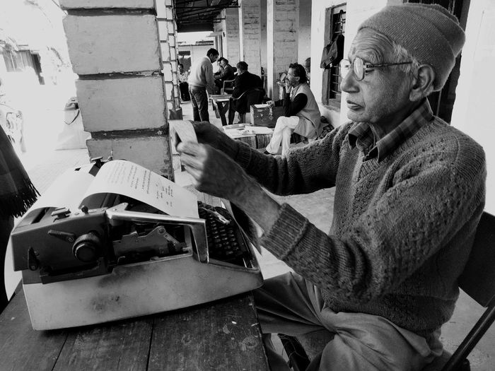 Senior Adult One Person Typewriter Old School Typist Almora Court Black And White The Street Photographer - 2017 EyeEm Awards Second Acts