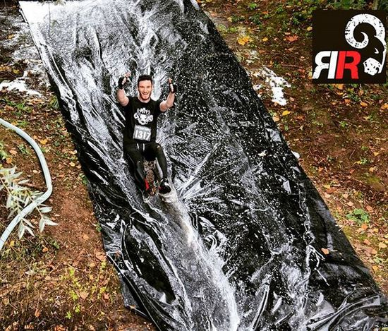 Always the best 'obstacle' at any race 👍 😂 reppin' @pitt_training Ocr Thepitt Waterslide Obstaclecourseracing Ramrun Mud Slide Fitfam Thumbsupfriend