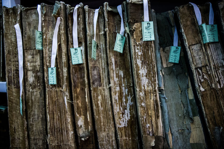 Full frame shot of wooden hanging outdoors