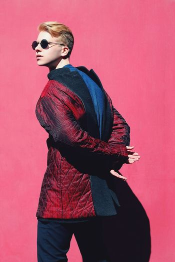 Canonrussia Canonphotography Canon Canon_photos 50mm Россия Boy Men Man People Vogue Fashion Spectacles Inner Power Studio Shot Red Colored Background Standing Hair Bun Society Beauty Mannequin Red Background EyeEmNewHere