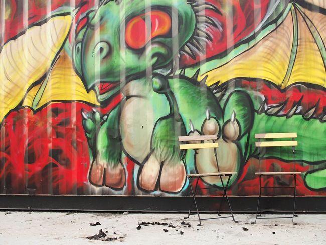 Go ahead, sit down, keep me company Graffiti Street Art Dragon Coloursplash Chairs Sit Down I'll Watch Your Back