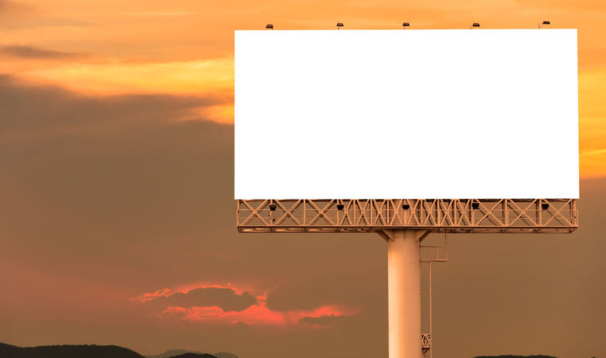 Sunset Sky Copy Space Blank Orange Color Architecture No People Cloud - Sky Communication Billboard Built Structure Nature Advertisement Sign Outdoors Placard Building Exterior Empty Commercial Sign Geometric Shape Message
