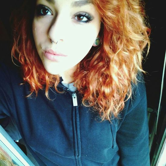 Black is the new black. Always Black Big Eyes Redhead Curly Hair Don't Care