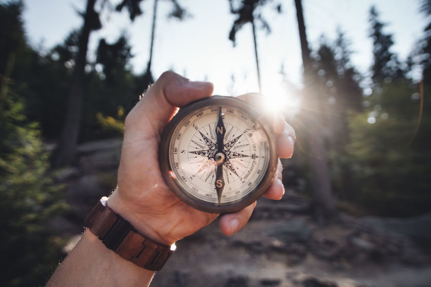Hiking Nature Roaming Vintage Style Adventure Beauty In Nature Compass Kompass Explore Hand Human Hand Human Body Part Landscape Marine Mountain Mountains Nautical Outdoors Tattoo Vintage Vintage Photo Sunflare Sonnenuntergang Sunset Sunlight