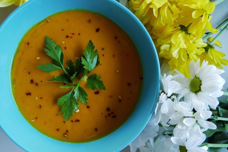 Curry Soup Soup Bowl Soup Cooking Freshness Flower Flowering Plant Food And Drink Plant Food Directly Above Bowl Yellow Nature No People Table
