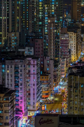 Sham shui po Building Exterior Architecture Skyscraper City Outdoors Illuminated Night Built Structure No People Cityscape EyeEmNewHere