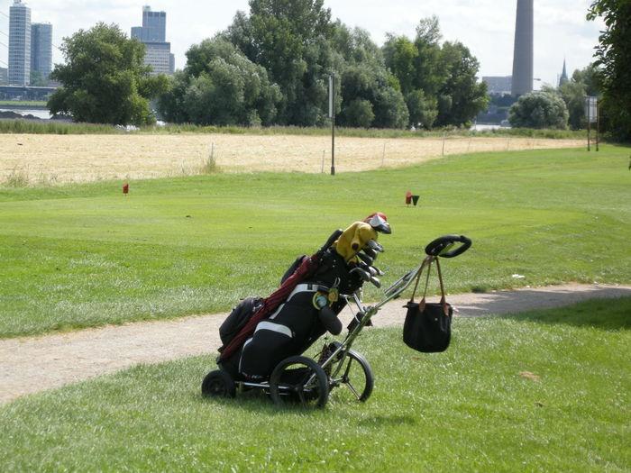 Golf bag on course