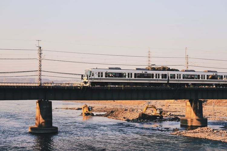 Autumn colors Japan Photography Architecture Bridge Bridge - Man Made Structure Built Structure Clear Sky Connection Copy Space Day Mode Of Transportation Motion Nature Nautical Vessel No People Outdoors Railway Track Raliway Sea Sky Transportation Water Waterfront