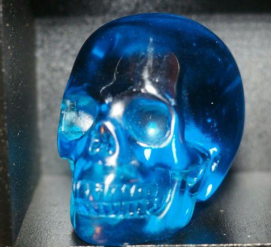 Blue Close-up Carved Crystal Skull Skulls💀 Skull Healing Realistic Gemstone  Crystal Skulls Crystal Skull Beautiful Skull Art Skulls Skullporn My Skulls Blue Obsidian 2.0inch Blue Beautiful Blue Beauty Crystal Semi-precious Gem Gemstone  Mineral Quartz Human Skull
