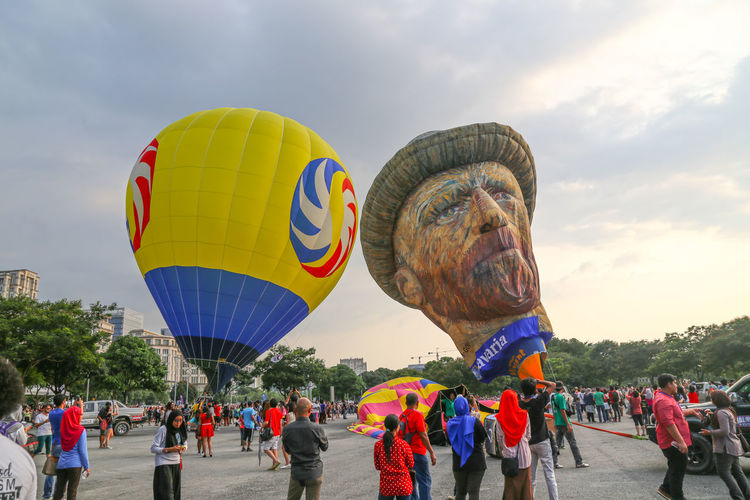 The festival Outdoor Ballooning Balloons Balloons Festival Crowd Crowd Watching Crowded People Festival Hot Air Balloon Festival Hot Air Balloons Putra Jaya, Mala Sky Vincent Van Gogh