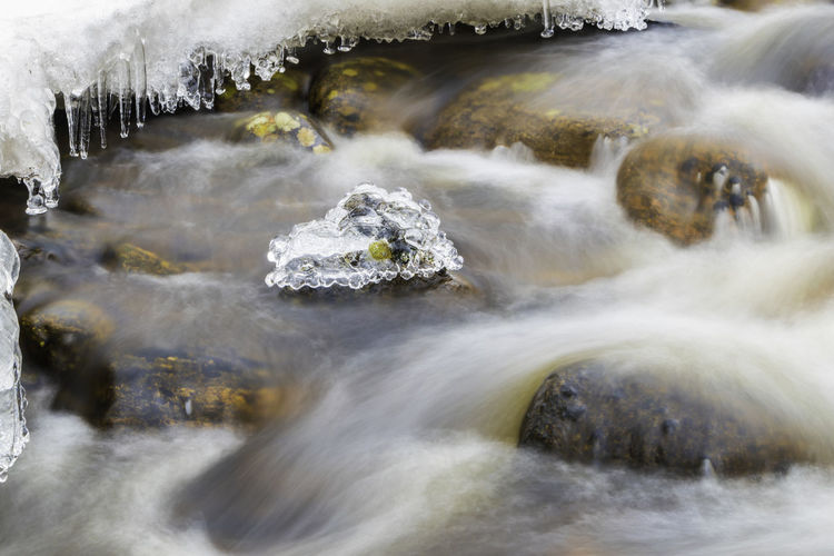 ice in water stream Water Motion Long Exposure Scenics - Nature Beauty In Nature Blurred Motion Flowing Water Waterfall No People Nature Rock Rock - Object Solid Day Power In Nature Flowing Sea Sport Power Falling Water Outdoors Stream - Flowing Water Running Water