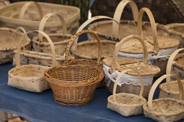 Close-up of baskets for sale at market