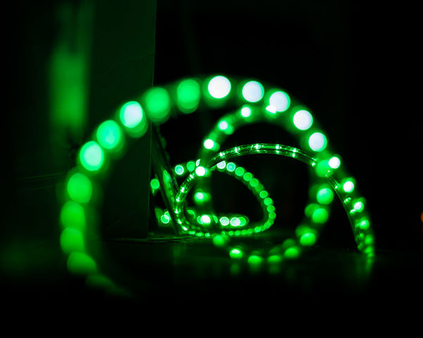Abstract Close-up Defocused Glowing Green Color Illuminated Lighting Equipment Multi Colored Neon Night No People Outdoors Technology