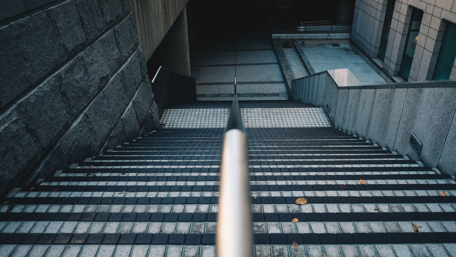 High Angle View Of Empty Staircase