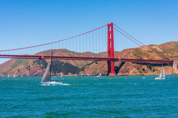 Golden Gate Bridge Water Sky Clear Sky Bridge Connection Architecture Built Structure Blue Suspension Bridge Bridge - Man Made Structure Mountain Transportation Nature Travel Destinations Sea Waterfront No People Day Bay Outdoors Sailboat