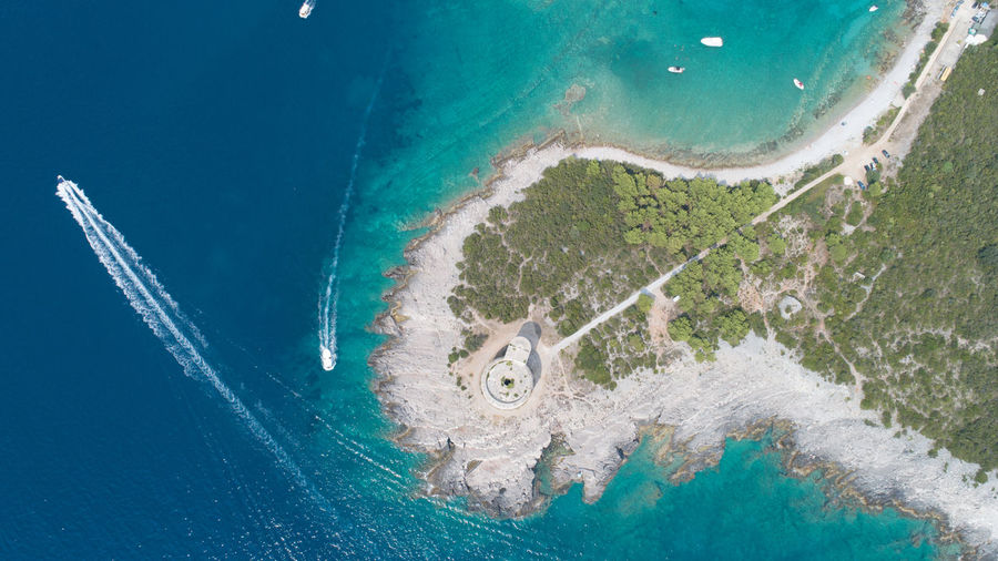 Fort Arza in Montenegro, near the island of Mamula Fort Mamula Island Montenegro Drone  Aerial View Yacht Sea Beach