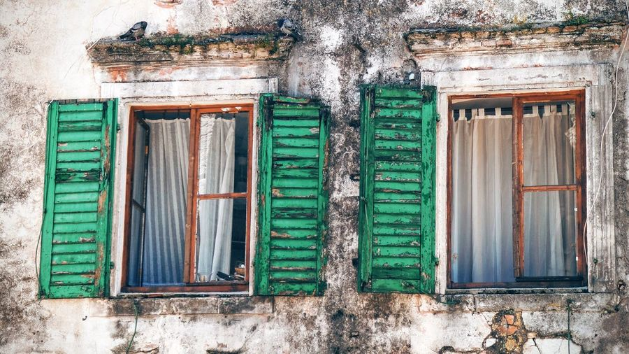 Windows Windows With Shutters Window Shutter Green Color Shutters