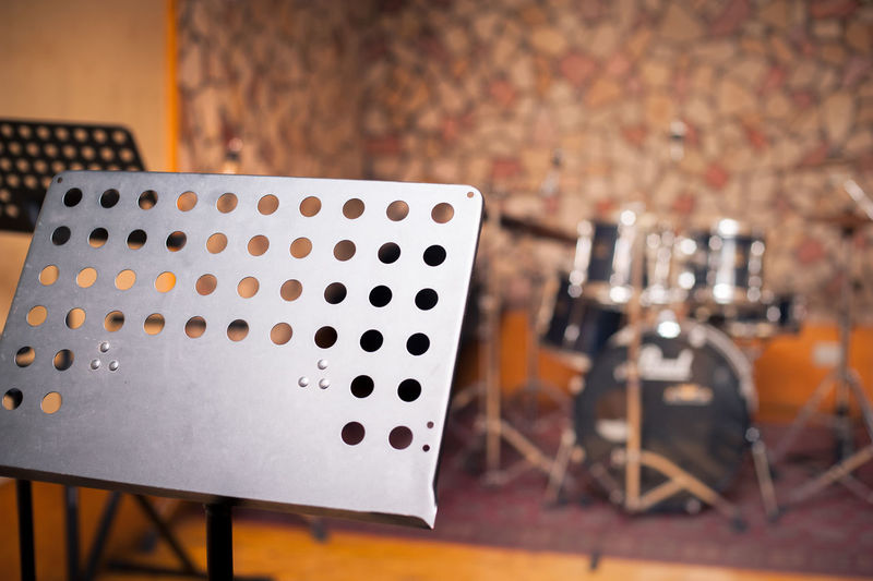 Music studio with intruments and bookstand Bookrest BookStand Close-up Day Drums Focus On Foreground Indoors  Music Music Studio  Musical Instruments No People Nobody Practice Room Recording Studio Rehearsal Room Room Studio