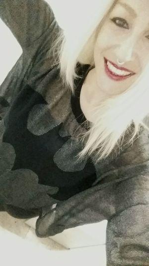 Batman is with me today Fashion Photography Batman ❤ Cheese! Enjoying Life Work Swissgirl Redlips Mystyle Fashionstyle Blondiegirl INKEDGIRL Marvel Comics Batmanforever Septum Piercing