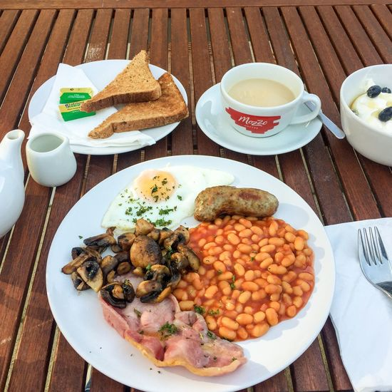 Breakfast Englishbreakfast English Alldaybreakfast Meal Park Garden Tea Beans Sausage Egg