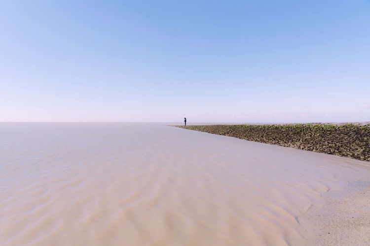 Offseason Manche Northsea Outdoors Berck Baie De Somme  Silhouette Tiny People Sky Scenics - Nature Clear Sky Land Beauty In Nature Tranquility Tranquil Scene Water Sand Beach Sea Nature Copy Space Day Horizon Horizon Over Water