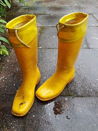 Rubber Boots Yellow Rubber Boots Woman Shoes Yellow Rainy Day Rain Pair No People Day Outdoors Paint The Town Yellow