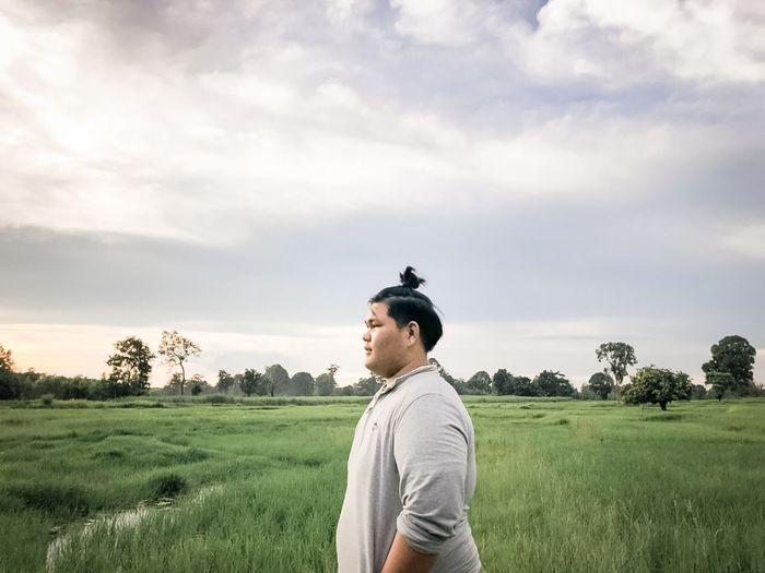 Chubby boy and fields