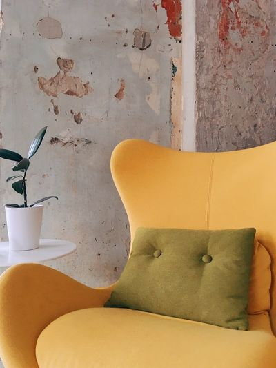 Interior details Yellow Style Colorful Indoors  Interior Design No People Still Life Yellow Indoors  Wall - Building Feature High Angle View Day Orange Color Seat Wall