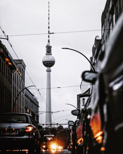 City Architecture Street Traffic Built Structure Transportation Berlin Fernsehturm Tower No People Building Exterior Mode Of Transport Land Vehicle Travel Sky Outdoors Travel Destinations Road Day Berlin