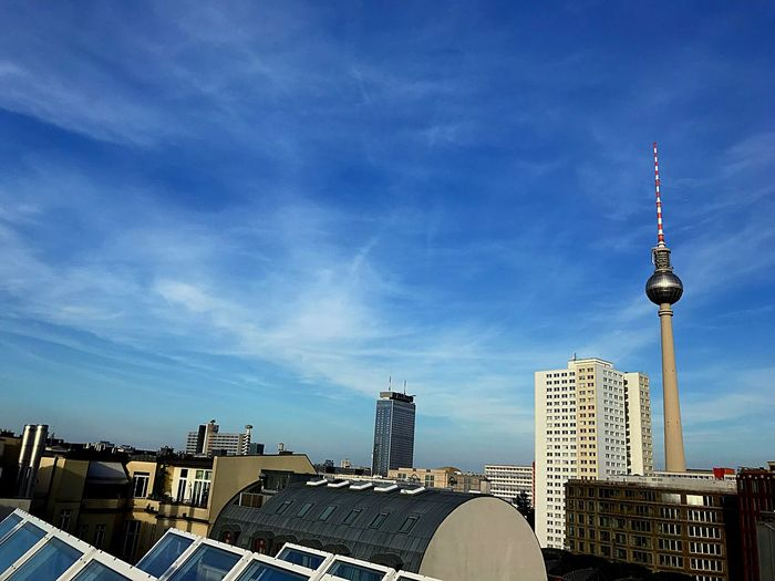Berlin Summer Berlin Berlin Photography Berliner Ansichten Architecture Built Structure Sky Building Exterior Tower Tall - High Cloud - Sky Travel Destinations Office Building Exterior Travel Tourism