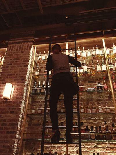 Bar Alcohol Whiskey Ladder Climbing Climb Illuminated Tokyo Japan