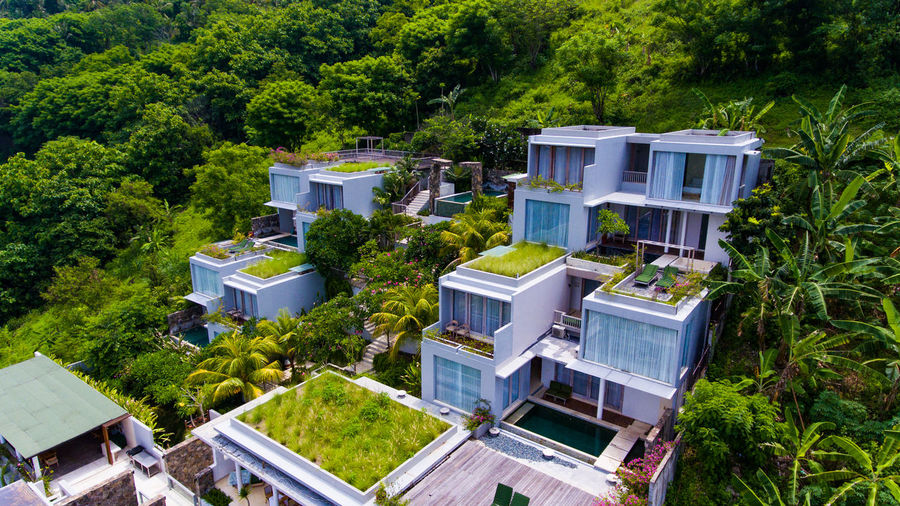 resort Svarga, Lombok. Plant Tree Architecture Built Structure Building Exterior Building Residential District High Angle View Nature Day House Green Color Outdoors No People Growth Beauty In Nature City Land Blue Hotel Apartment Luxury Housing Development Resort Hotel Resort