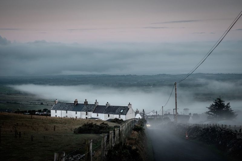 LLITHFAEN IN THE MIST Terraced Houses Foggy Misty Cinematic Xe2s Sky Water Nature Cloud - Sky Dusk Architecture Transportation Built Structure Outdoors Building Exterior Scenics - Nature
