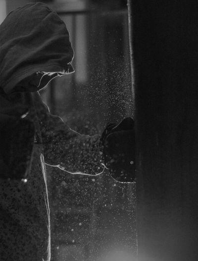 Reflection of man on window