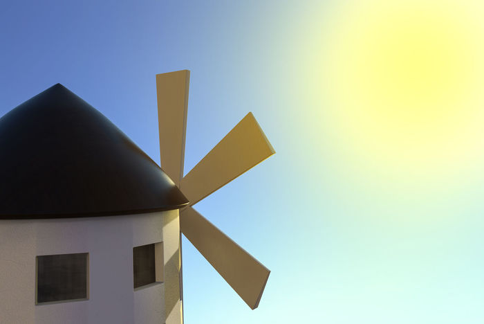 3d windmill building on sunny day. Roof Windmill Architecture Blade Blue Building Building Exterior Built Structure Clear Sky Copy Space Culture Day Design Energy Generator Nature No People Outdoors Rotate Sky Spring Summer Sunlight Wind Yellow