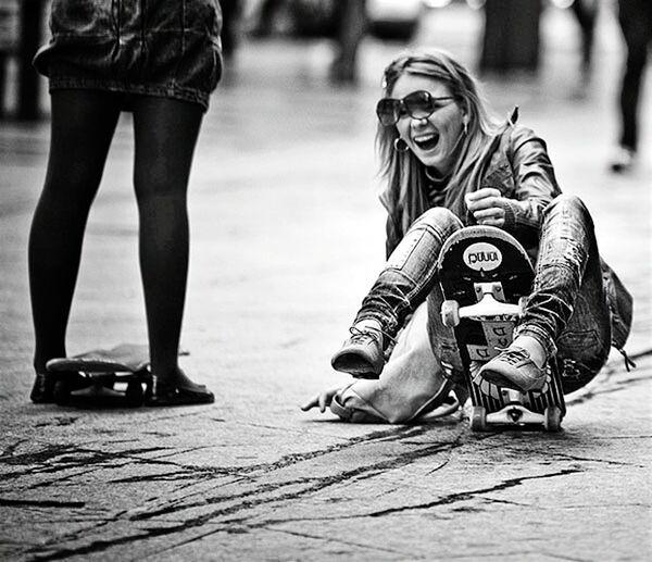 Skateboarding Stupidgirl Blackandwhite Ontheroad Skateboard Fall Black & White Girl Funny Faces