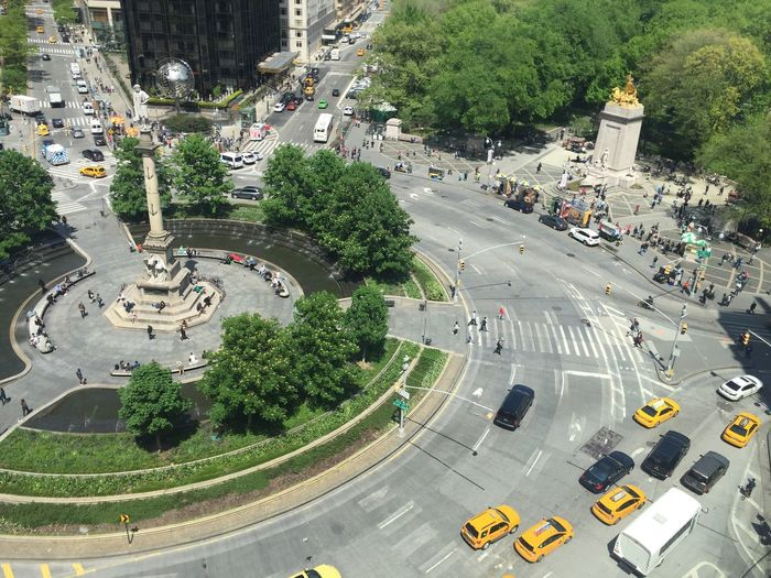 High angle view of columbus circle in city